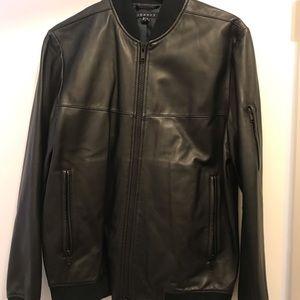 Men's Theory leather bomber jacket